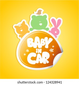 Baby in car sticker with funny animals.