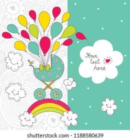 Baby card. Cute vector. The birth of a boy