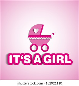 Baby card - Its a girl theme - with baby carriage