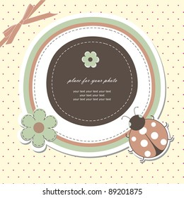 Baby card with ladybird (vector version eps 8)