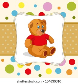 baby card with teddy bear and colored dots