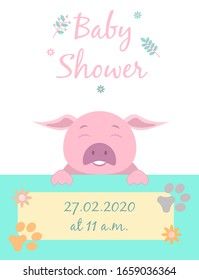 Baby cards for Baby shower.  Pig. Postcard or party templates in blue and pink with charming animals.