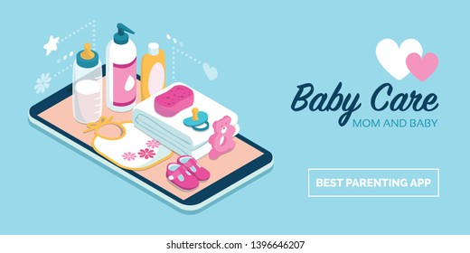 Baby care items and online shopping: baby products on a digital touch screen smartphone