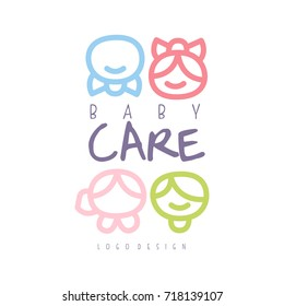 Baby care logo design, emblem with kid faces, label for kids club, baby or toys shop and any other children projects colorful hand drawn vector Illustration