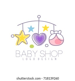 Baby care logo design, emblem with baby bed carousel, label for kids club, baby or toys shop and any other children projects colorful vector Illustration