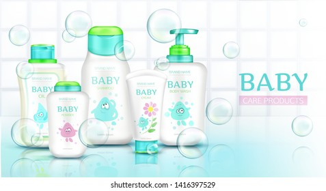 Baby care products, cosmetics bottles with kids cartoon design and flying soap bubbles, plastic tubes mockup of cream, shampoo, foam on white bathroom tiled background Realistic 3d vector illustration
