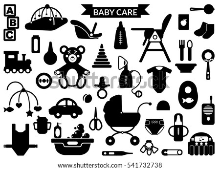 Baby Care Supplies Silhouettes Big Set Stock Vector Royalty Free