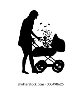 Baby carriage with her mother. Vector