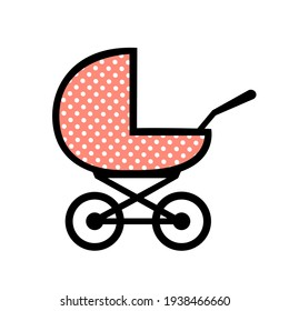 Baby carriage icon on white background. A symbol of the birth of a child, maternal care and love. Vector isolated illustration