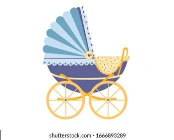 Baby carriage, icon. Baby pram on a white background. Vector flat color illustration
