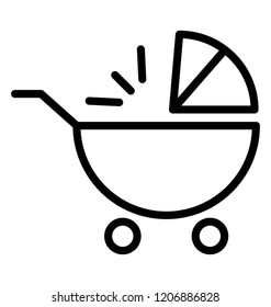 Baby carriage isolated icon vector