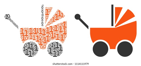 Baby carriage mosaic icon of zero and null digits in randomized sizes. Vector digit symbols are composed into baby carriage illustration design concept.