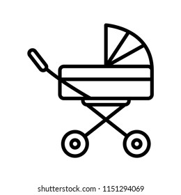 Baby carriage outline vector icon.