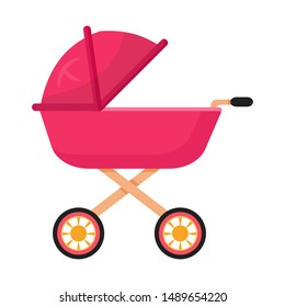 Baby carriage, pram flat vector illustration. Toddler buggy, stroller side view. Outdoor family strolls attribute. Infant transport, empty pushchair, perambulator. Childcare, parenting symbol