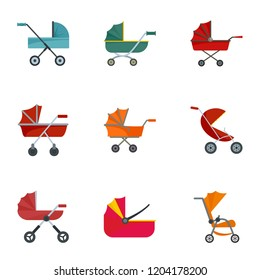 Baby carriage pram icon set. Flat set of 9 baby carriage pram vector icons for web design