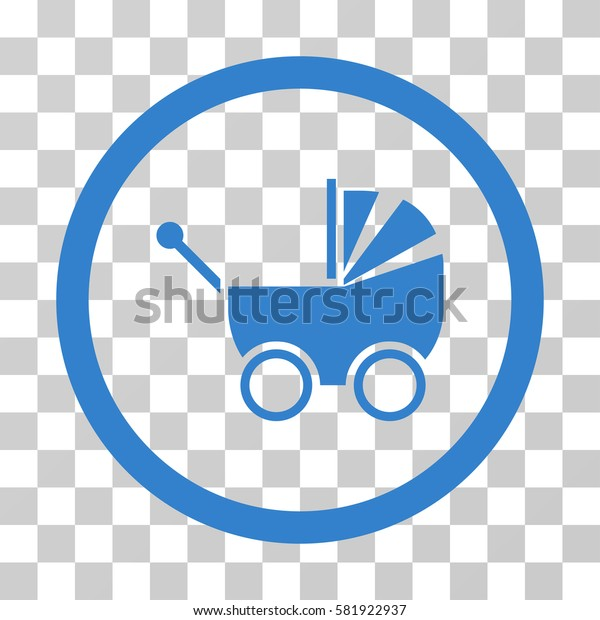 Baby Carriage vector pictogram. Illustration style is a flat iconic cobalt symbol on a transparent background.