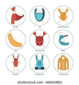 Baby carrier icons set. Different types: ring sling, ergonomic baby carrier, wrap, pouch, asian baby carrier, japanese  baby carrier, hipseat, baby wearing coat.