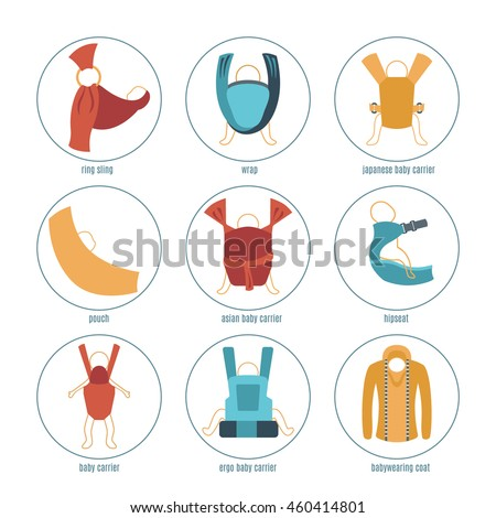 Baby Carrier Icons Set Different Types Stock Vector Royalty Free