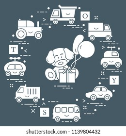 Baby cars, trucks, bus, tractor, cubes, puppy, gift, balloons. Design for poster or print.