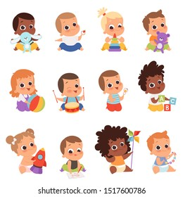 Baby characters. New born kids playing toys happy childhood small little one vector babies