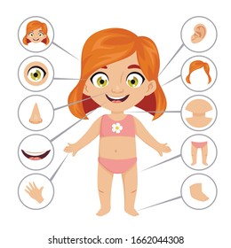 Baby or child body parts school educational banner or poster template with cute smiling young redhead girl for human anatomy lesson. Cartoon colorful vector illustration for preschool education.