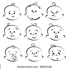 baby child face icons