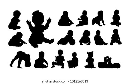 Baby Child Playing silhouette, Playing and crawling silhouette vector