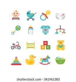 Baby and child related icons ,illustrations eps 10, no transparencies