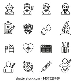 Baby, Childhood vaccinations icons set with white background. Thin line style stock vector.