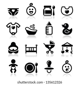 Baby, childhood vector icons set isolated on white