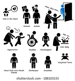 Baby Children Kid Health Sickness Syndrome Problem Stick Figure Pictogram Icon Clipart