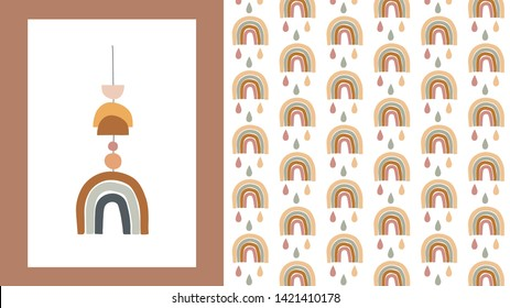 Baby, children, little kids poster and pattern in simple, clean modern style. Perfect for nursery decor, fashion design