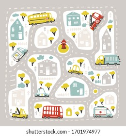 Baby City map with roads and transport. Vector illustration inscribed in a square shape. Cartoon childish hand-drawn scandinavian style. For nursery room, printing on game carpets, plaids, etc.