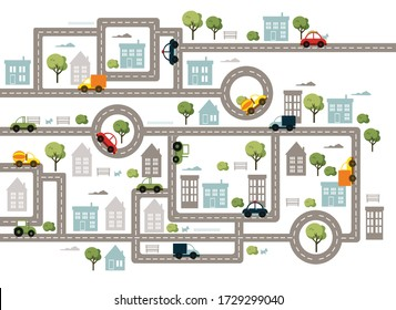 Baby City map with roads, transport, trees and houses. Flat vector illustration.