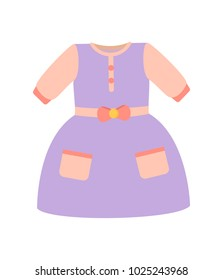 fcf368232 Baby clothes, banner with girl dress of purple color with bow and pockets,  poster