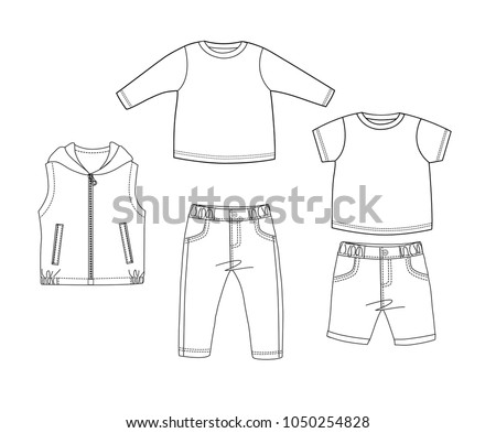 Baby Clothes Design Template Collection Set Long And Short T Shirt Woven Pants