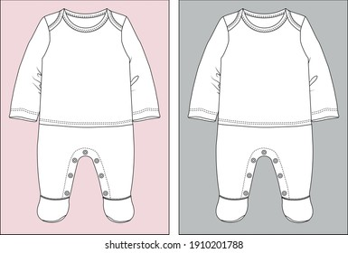 Baby clothes design template flat sketch