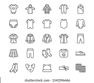 Baby clothes flat line icons set. Bodysuit, coverall, romper, buster suit, newborn nest, girl dress vector illustrations. Outline signs for children fashion store. Pixel perfect  Editable Stroke.