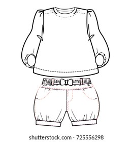 Baby Clothes Flat Sketch Template Isolated