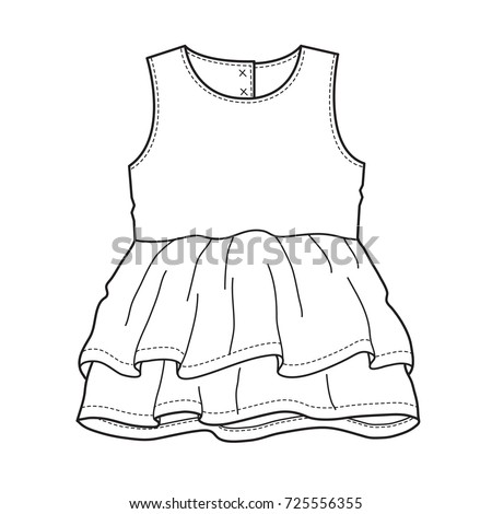 Baby Clothes Flat Sketch Template Isolated Stock Vector (Royalty ...