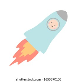 Baby in clothes in the form of a rocket. Vector illustration.
