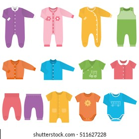 Baby clothes. Garments for infant boys and girls. Kids bodysuits and overalls. Vector illustration. Set icons clothing in flat style on white background. Isolated objects.