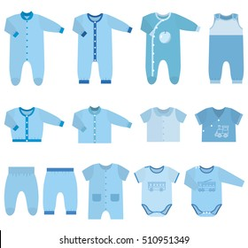 Baby clothes. Garments for infant kids. Sketches bodysuits, overalls for boys. Vector illustration. Set icons clothing in flat style on white background. Isolated objects.