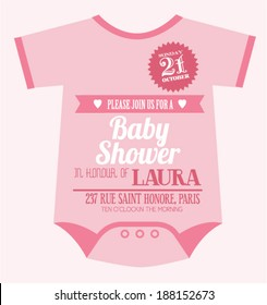baby clothes baby girl shower invitation card template vector/illustration