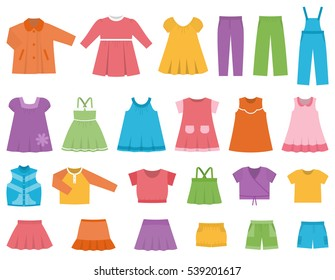 Baby clothes for girls.  Vector set clothing on white background including dresess, skirts, shorts, pants, tops and t-shirt. Colorful illustration.