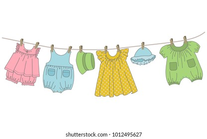 Baby clothes hang on the clothesline. Things are dried on clothespins after washing. Vector illustration.