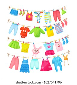Baby clothes hanging on clothesline. Drying children's clothes and accessories after washing on rope. Shorts, socks, romper, sweater, hat, toys, T-shirt, sarafans, dress, skirts, blouse cartoon vector