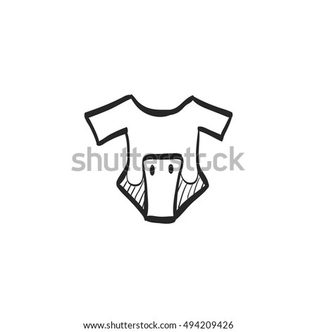 33119d4b6 Baby Clothes Icon Doodle Sketch Lines Stock Vector (Royalty Free ...