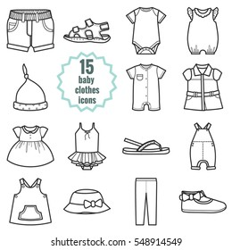 Baby clothes icons set.Clothing for summer. Isolated vector illustration on white background.