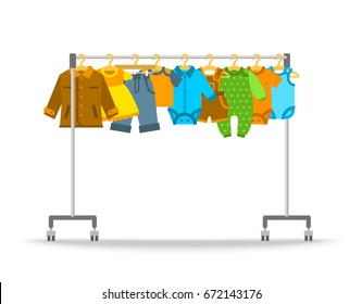 Baby clothes on hanger rack. Flat style vector illustration. Casual little kids apparel hanging on shop rolling display stand. Boys and girls outfit fashion collection. Children store sale concept